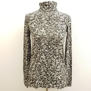 J. Crew Tissue Turtleneck in Floral Blk/Beige T1